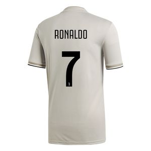 adidas Juventus Turin 18/19 - Herren Auswärts Trikot mit Ronaldo Flock - CF3488 beige