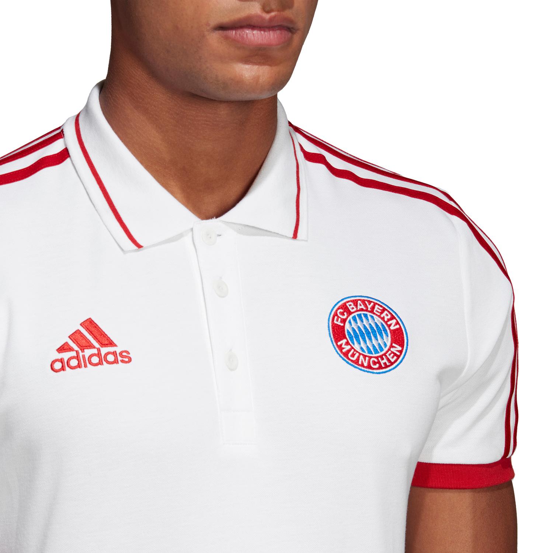 Details zu adidas FC Bayern München Herren Polo Poloshirt DP4106 weiß