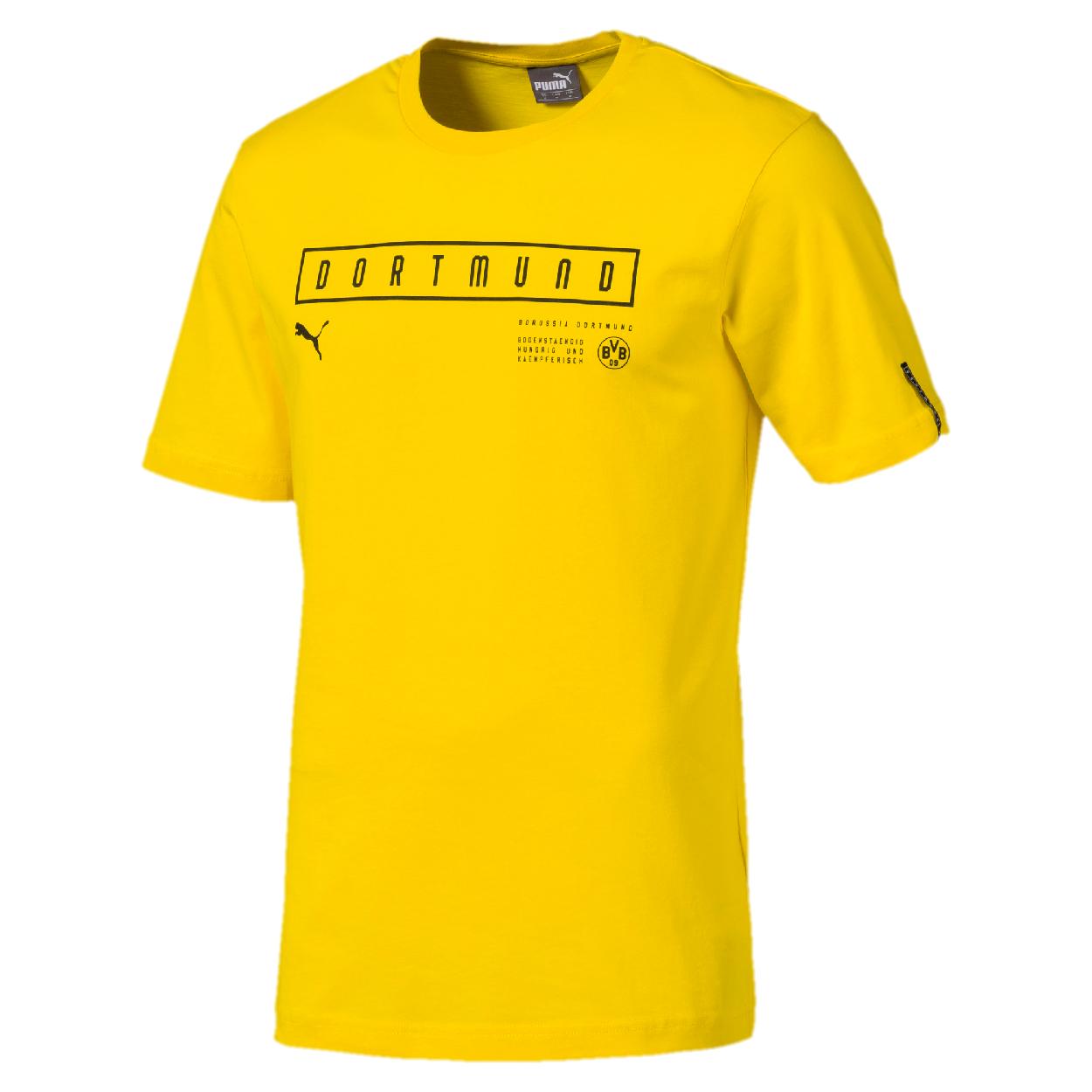 Puma BVB Borussia Dortmund Herren Fan T Shirt Freizeitshirt 754597 01 gelb