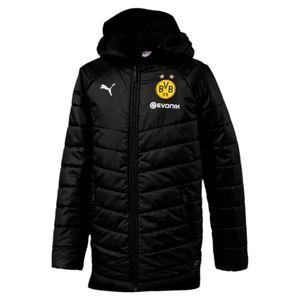 Puma BVB Borussia Dortmund Bench Jacke Winterjacke Kinder mit Sponsoren Logo 753490-02 schwarz