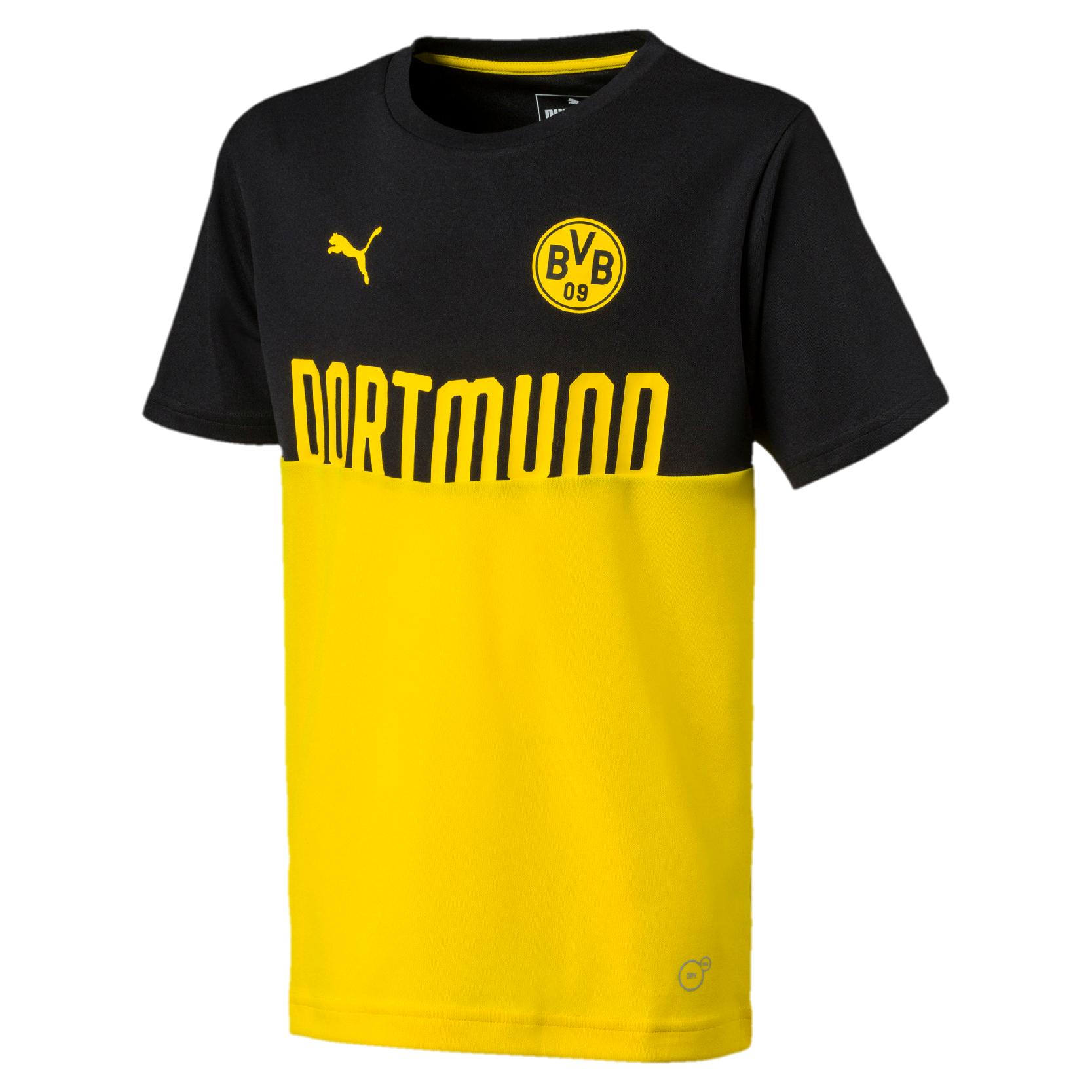 new style 62c66 25771 Puma BVB Borussia Dortmund Kinder Fan T-Shirt Poly Tee Fußball Shirt -  754102-02 gelb/schwarz