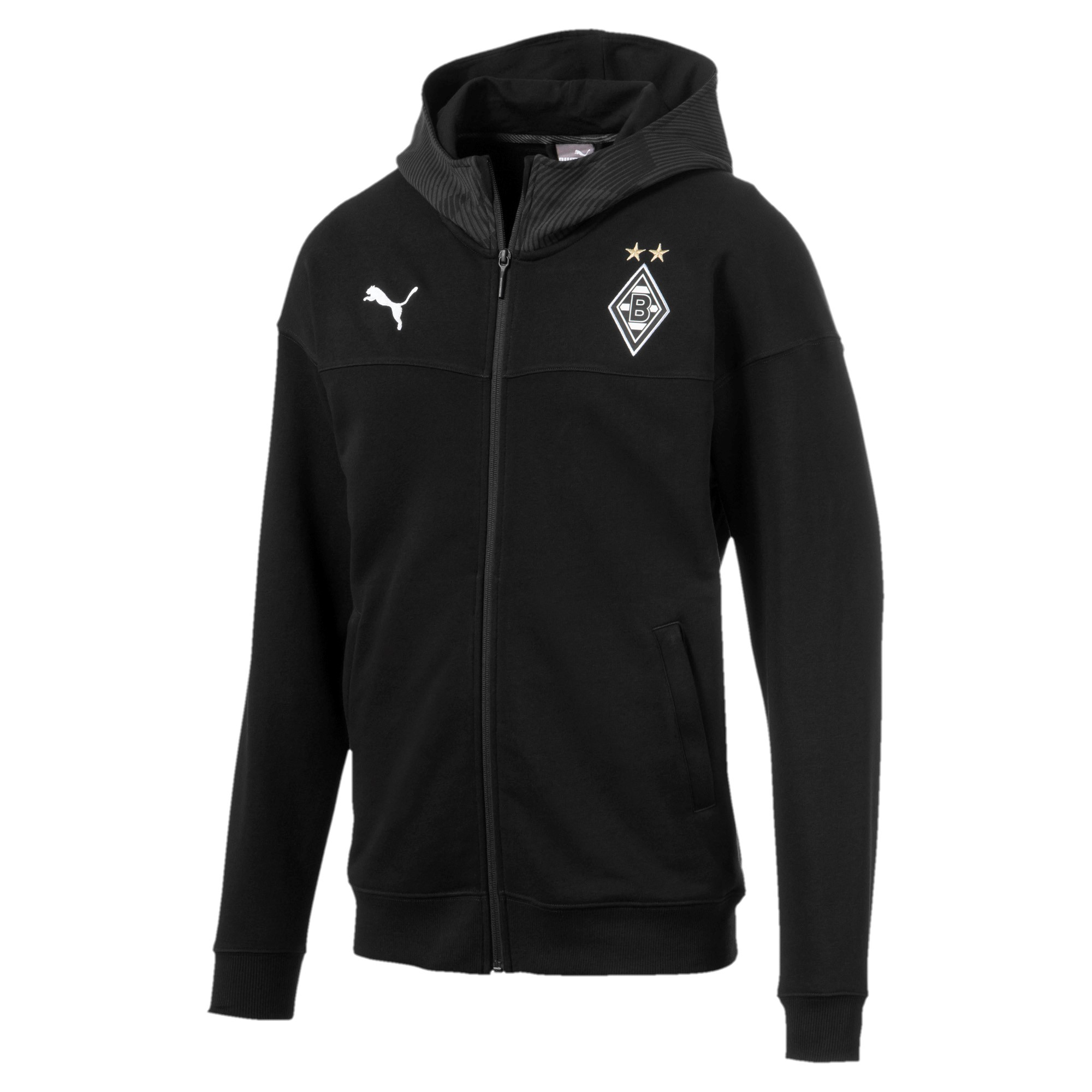 Puma BMG Borussia Mönchengladbach Herren Casuals Hooded Jacket Kapuzenjacke 756091 11 schwarz