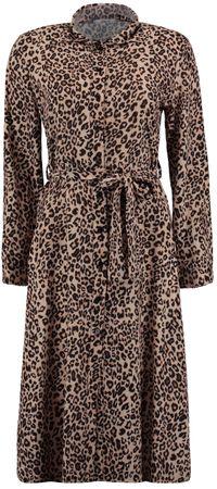 Hailys Damen Leo Maxi Kleid mit Knopfleiste langarm dress beige schwarz