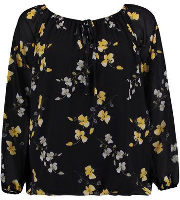 Hailys Damen Blusenshirt Cara Flower Print langarm Top Shirt schwarz