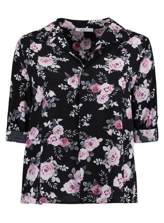 Hailys Damen Blusenshirt Sila Flower 3/4 Arm Shirt schwarz