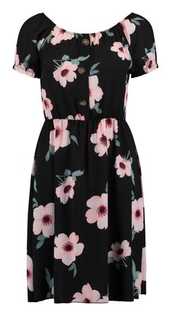 Hailys Damen Kleid Khloe dress Flower Print kurzarm schwarz