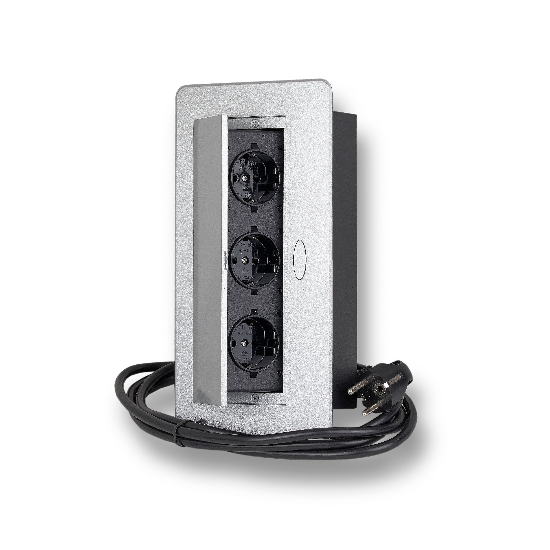 steckdose versenkbar 3x schuko 3m kabel k che b ro m bel. Black Bedroom Furniture Sets. Home Design Ideas