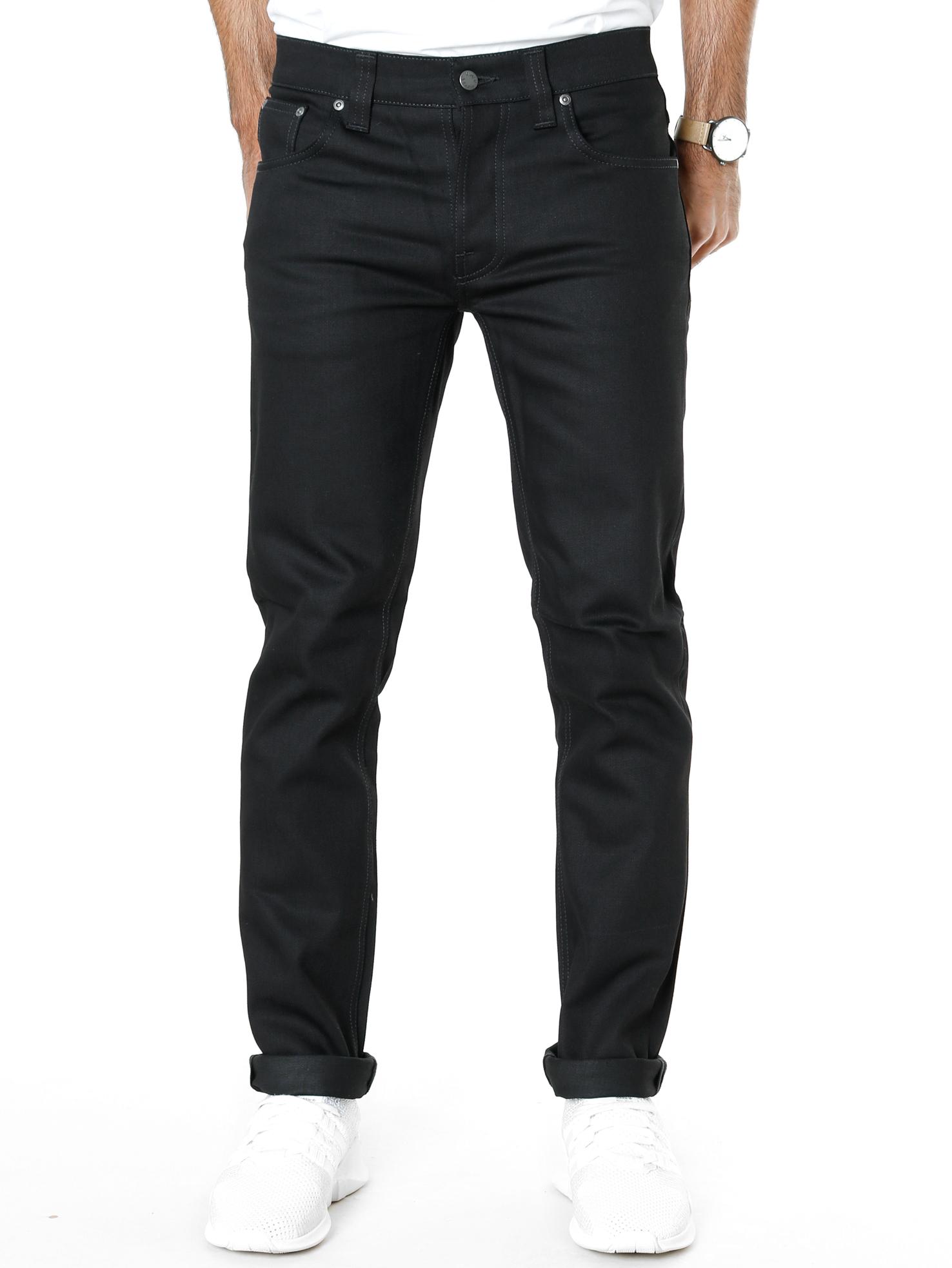 Nudie Mens Slim Fit Stretch Jeans 12.7oz Grim Tim Black Sparkles