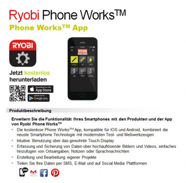 Ryobi Phone Works Infrarot Thermometer RPW-2000 Messgerät – Bild 3