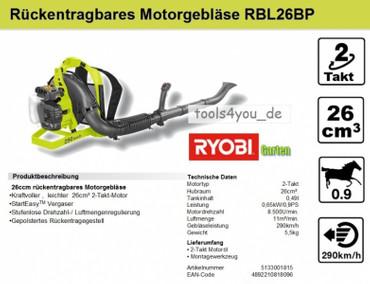 Ryobi rückentragbares Motorgebläse RBL26BP – Bild 2