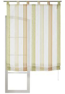Gardisette Gardine transparentes Voile-Raffrollo mit farbigen Webstreifen Bunt