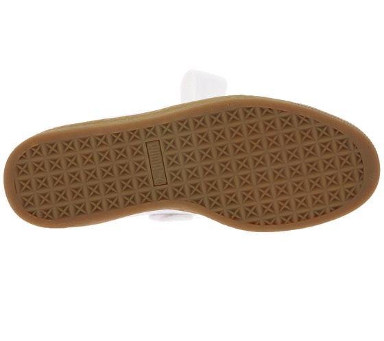 PUMA modern ladies genuine leather sneaker Basket Heart Perf Gum White