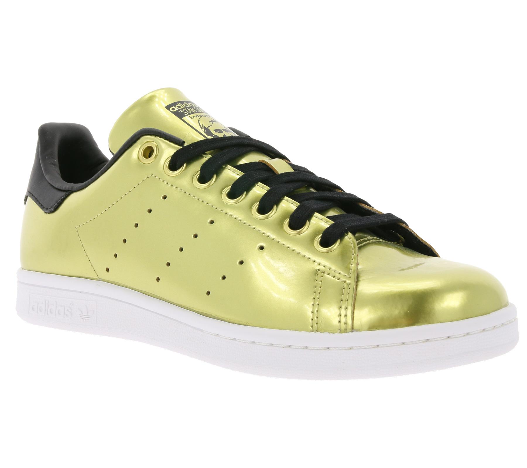 huge discount 4a55a a51b0 Details zu adidas Originals Damen-Schuhe Gold glänzende Damen-Sneaker Stan  Smith Turnschuhe