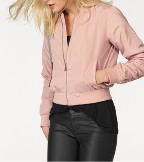 melrose Jacke stylische Damen Bomberjacke mit Stehkragen Rosa
