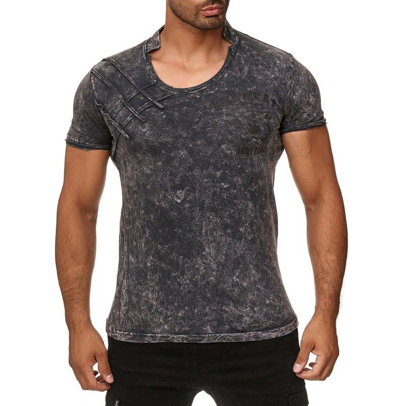 453167f3fb06f1 Tazzio Fashion Herren T-Shirt mit Stehkragen Grau