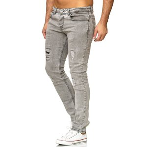 Tazzio Fashion Herren Denim Stretch-Jeans im Destroyed Look Grau