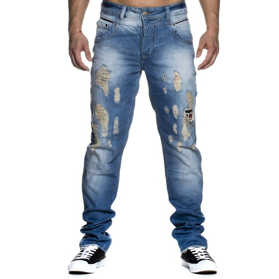 Tazzio Fashion Herren Stonewashed Destroyed Used Look Jeans Comfort Fit Blau