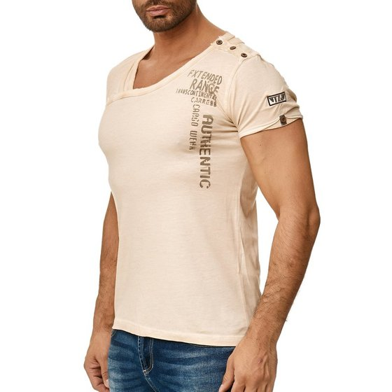Tazzio Herren T-Shirt mit Rundhalsausschnitt Beige
