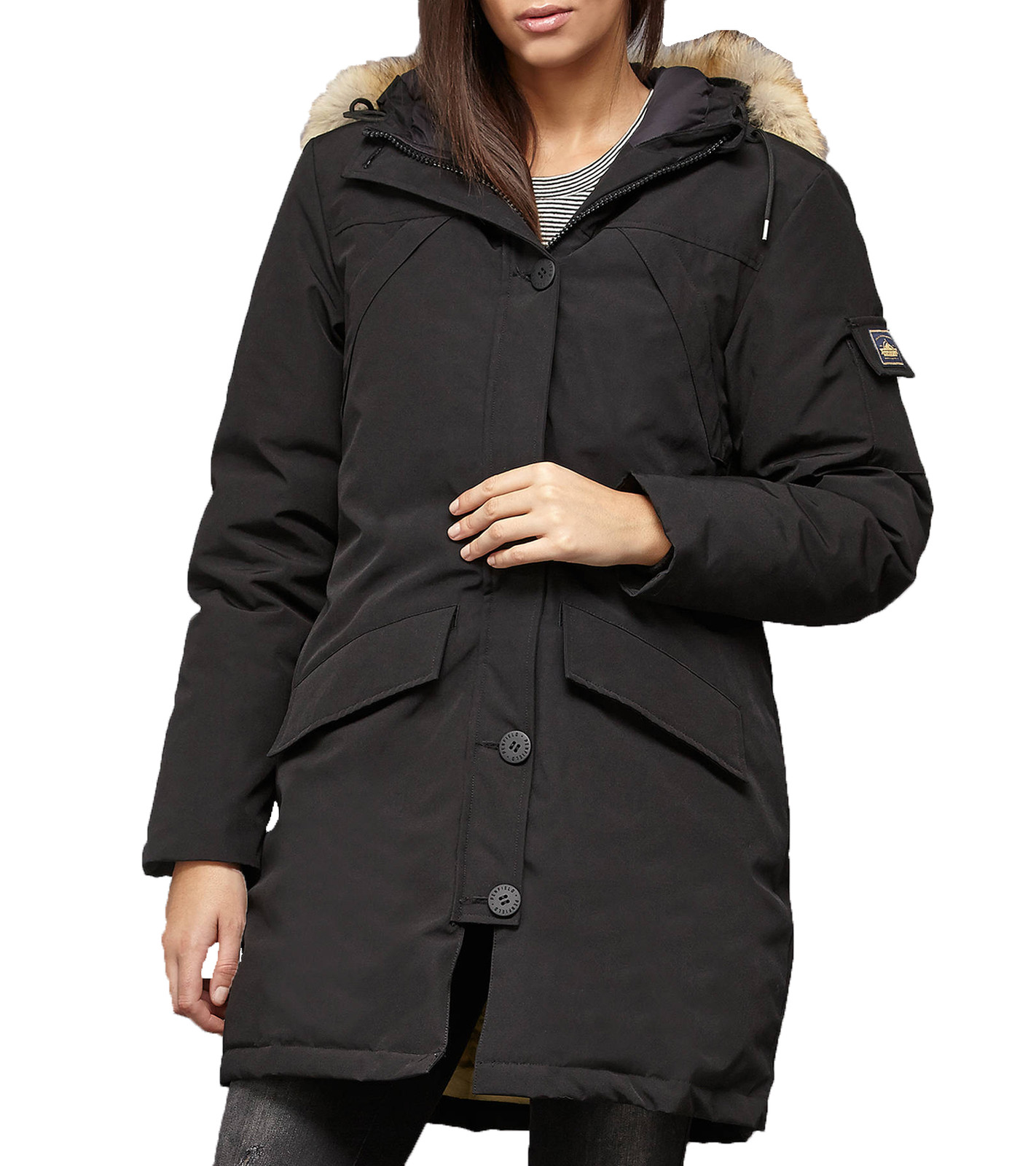the best attitude f8930 dd1ee PENFIELD Jacke wasserfester Damen Outdoor-Parka mit echtem Fell Hosaac  Mountain Schwarz
