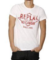 REPLAY Shirt zeitloses Herren T-Shirt mit Print Weiß