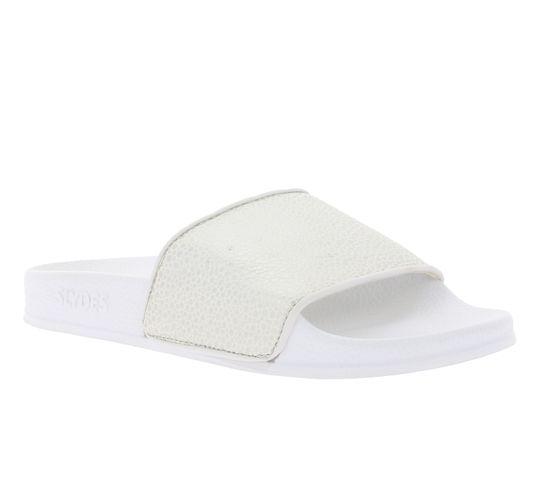 SLYDES Sandale bequeme Damen Slide Sommer-Schuhe im Mosaik Look Weiß