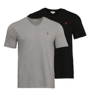 U.S. POLO ASSN. 2er Pack Shirt Basic Herren V-Neck T-Shirt Schwarz/Grau
