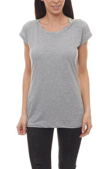 VENICE BEACH Strand-Shirt bedrucktes Damen 2 in 1 Optik Shirt mit Topeinsatz Grau