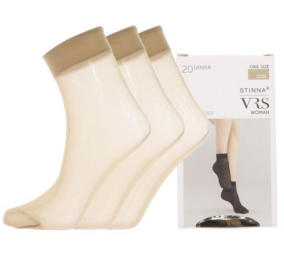 [Pack] Lot de 3 bas VRS Perlon chaussettes en nylon de haute qualité pour femmes 20 DEN noir et marron