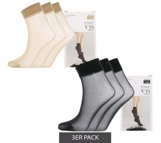 3er Pack VRS Perlon-Strümpfe feminine Damen Nylon-Söckchen 20 DEN Schwarz & Braun