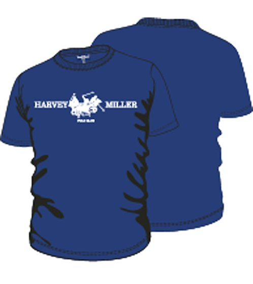 HARVEY MILLER POLO CLUB T-Shirt mit Print cooles Herren Kurzarm-Shirt Royal Blau