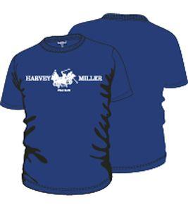 HARVEY MILLER POLO CLUB T-Shirt mit Print cooles Herren Kurzarm-Shirt Royal Blau 001