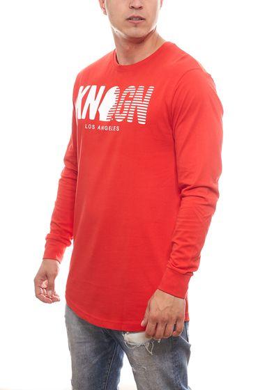 KINGIN Oversized Longsleeve moderner Herren Sweater mit Front-Print Rot