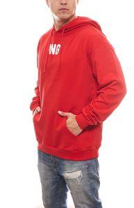 KINGIN Oversized Herren Hoodie stylischer Kapuzen-Pullover King Rot – Bild 1