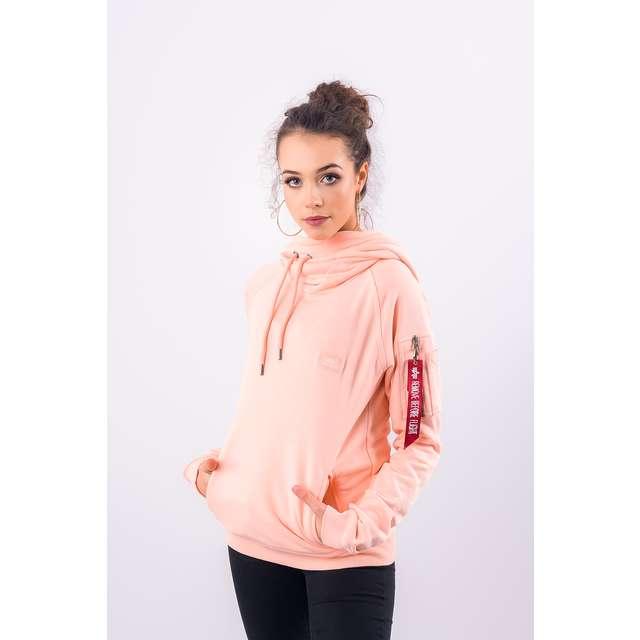 sale großhandel online hübsch und bunt ALPHA INDUSTRIES X Fit Hoody Damen Sweatshirt Cremefarben / Beige