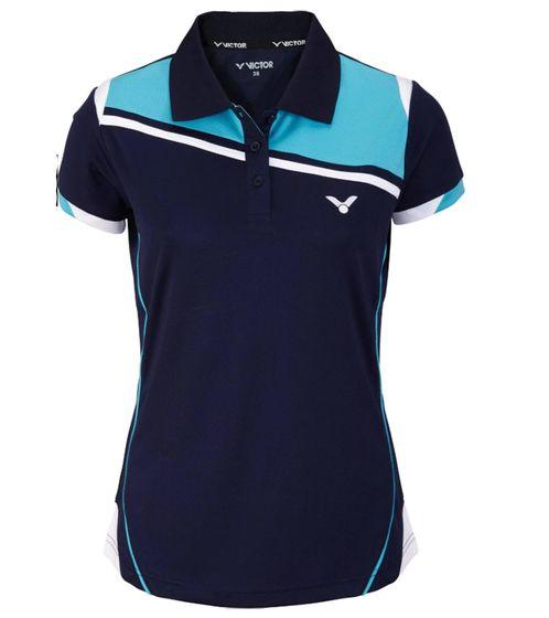 VICTOR Damen Trainingsshirt funktionales Poloshirt Squash Blau