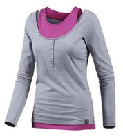 WLD Damen Sommer-Shirt schickes Langarmshirt im Lagenlook Under the Cherrymoon Blau/Pink