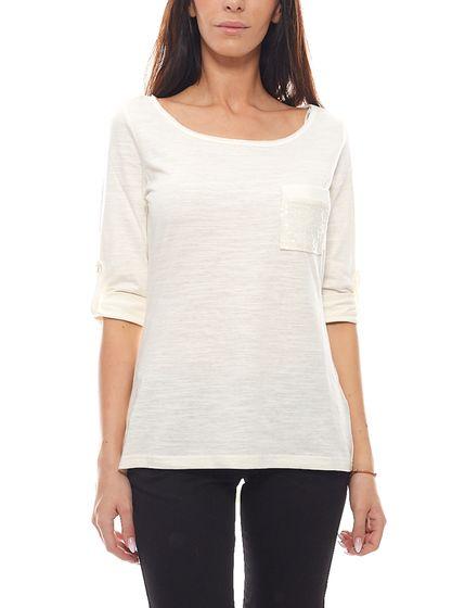 MAUI WOWIE 3/4 Arm-Shirt luftiges Damen Sommer-Shirt Weiß