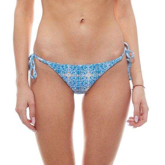 VOLCOM Wallflower Floral Ladies Bikini Slip with Ribbon Blue