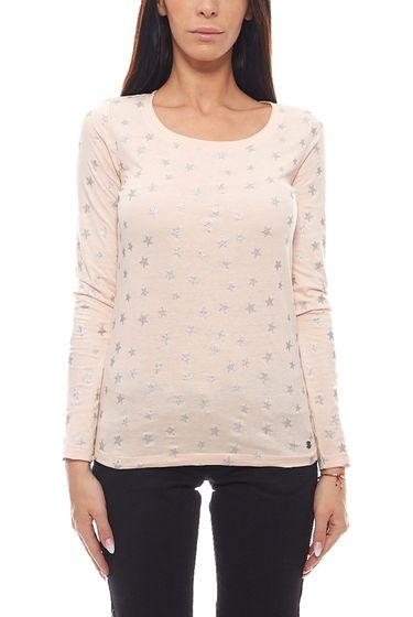AjC Summer Longsleeve glittering ladies print shirt with stars pink
