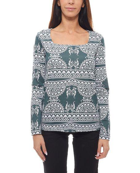 Cheer ladies shirt à la mode shirt à manches longues avec découpe rectangulaire vert  blanc