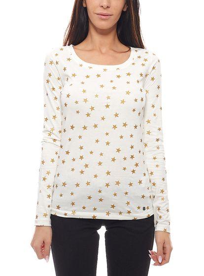 AjC summer ladies long sleeve shirt modern glitter shirt with stars white