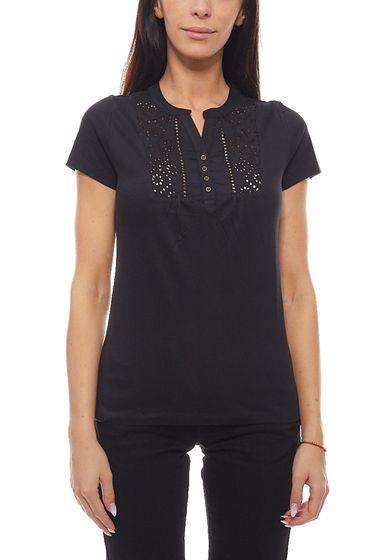 BOYSEN´S Sommer Shirt modisches Damen Shirt mit Lockstickerei Schwarz