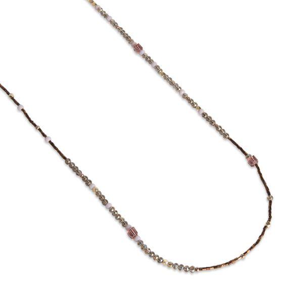 PEARLS FOR GIRLS Kette Damen Halskette lange Kette aus Glaskristallen Braun