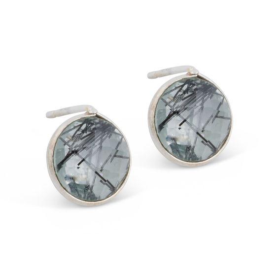 PEARLS FOR GIRLS Damen Ohrstecker schicke Glasstein-Ohrringe Silber/Grau
