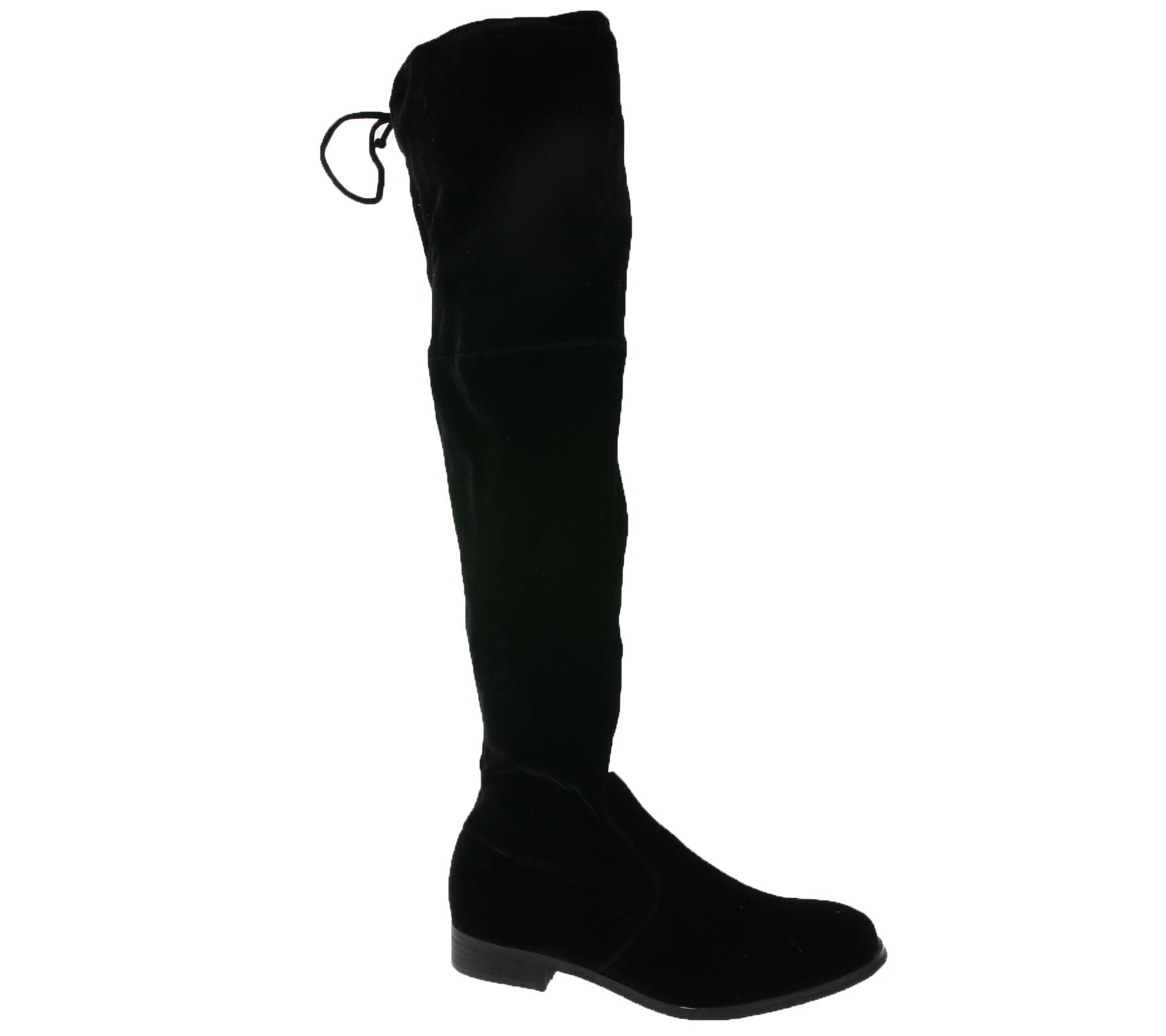Details zu POELMAN Samt Boots stylische Damen Overknee Stiefel Adriana lll Schwarz