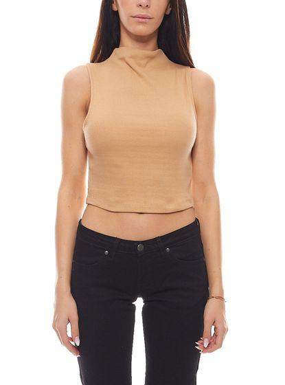 NA-KD Chemise courte court à col montant et à col roulé pour femmes rose