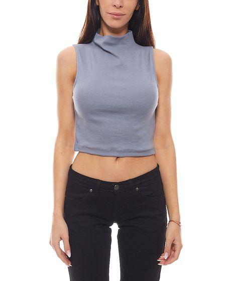 NA-KD Crop Top elegants Womens Summer Shirt with Stand-Up Turtleneck Blue