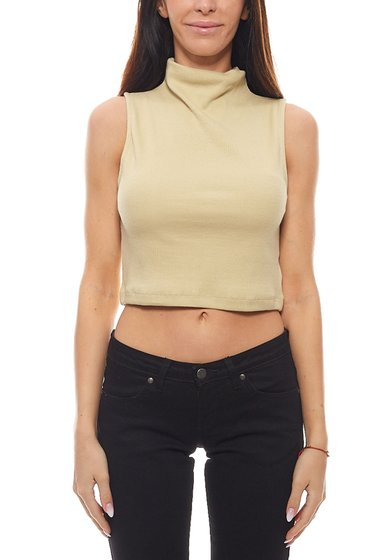 NA-KD Ladies crop top trendy shirt with stand-up collar turtleneck olive green