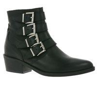 ONYGO Damen Boots spitze Stiefeletten mit Schnallen Kaysa Schwarz
