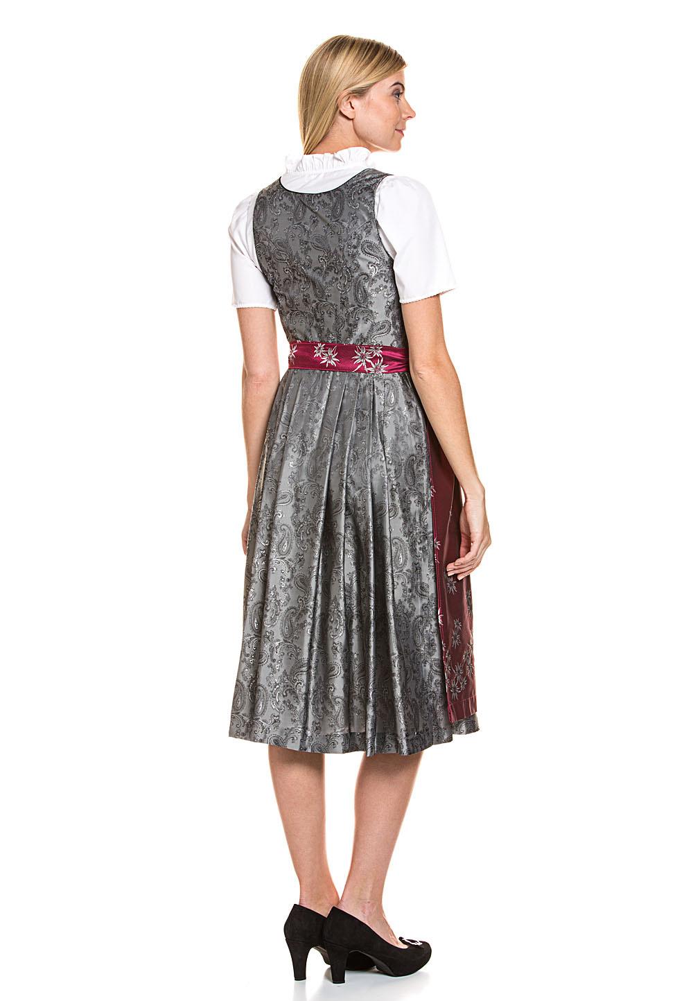 Rabatt-Sammlung exquisite handwerkskunst sehr bequem Trachten Deiser Midi-Dirndl Bluse & Schürze, 3-teilig Damen Kleid Silber
